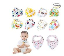 Labebe Baby Bandanna Bibs Drool/Bury Bibs Unisex 10-Pack Multicolor, 100% Cotton, Newborn Baby Shower Gift for Teething and Drooling, Soft and Absorbent, Machine Wash and Stain Proof - Unisex Pack A