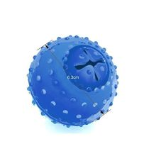 [Group Buying] (40PCS/CARTON) Smarter Interactive IQ Treat Rubber Ball Dog Freeze Chew Soft Ball Toy for Puppy Cat Pet Blue