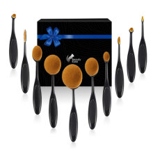 Beauty Kate Set of 10pcs Professional Oval Toothbrush Makeup Brush Set (Black)