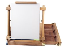 [Group Buying] Tavolozza H-Frame Tabletop Sketch Box Easel with Storage Drawer, Natural Wood