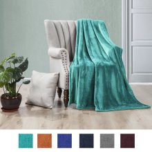 Luxe Manor 50x60 Inch Ultra Soft Flannel Fleece Throw Blanket Lightweight Decortive Fuzzy Plush Microfiber Warm Blanket for Sofas Couches Beds and Office, Teal