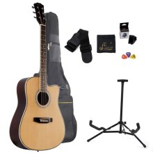 WINZZ 41 Inch Full Size Spruce Cutaway Acoustic Guitar with Bag, Stand, Soundhole Pickup, Tuner