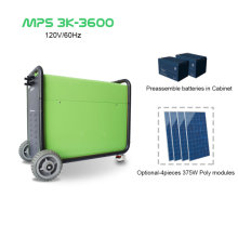 3KW standalone hybrid solar generator with 3.6 Kwh battery storage, mobile power source, home backup power