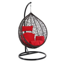 Top Quality Outdoor Furniture Brown Wicker Swing Chair Red Cushion