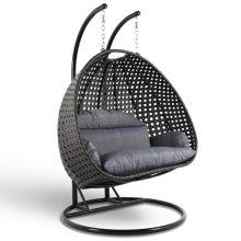 [Only for California Warehouse Pick-Up ] Elegant Design Charcoal Color Double Seat Wicker Hanging Swing Chair with Cushion