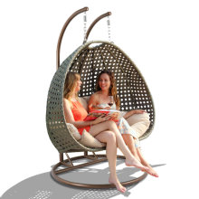 [Only for California Warehouse Pick-Up ] Wicker Hanging Swing Chair Double Seat Hanging Chair with Cushion
