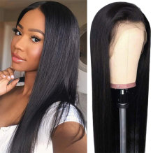 "13x4 Lace Front Wig For Black Women150% Density Brazilian Straight Lace Front Wigs Human Hair Pre Plucked with Baby Hair Natural Black 12""(30.4cm)"