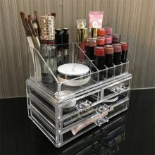 Regreen Acrylic Jewelry & Cosmetic Storage Display Boxes, with Brush Holder with 4 Drawer , 2 Pieces Set (Clear)