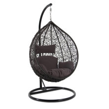 Rattan Swing Patio Garden Weave Hanging Egg Chair with Brown Cushion