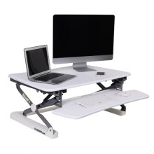 "FlexiSpot 35"" Wide Platform Height Adjustable Standing Desk Riser, Stand Up Desk Removable Keyboard Tray, White (M2W Medium Size)"