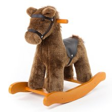 [Free Shipping] Labebe Baby Wooden Rocking Horse Brown Knight Boys & Girls Toddler Rocking Ride-on Toys for 1-3 Years Old, Stuffed Animal Seat, ASTM/Ce Safety Certified, Creative Birthday Gift