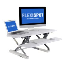 "FlexiSpot 41"" Cubicles Corner Desk Riser - Adjustable Standing Desk Convertion with Removable Keyboard Tray, White"