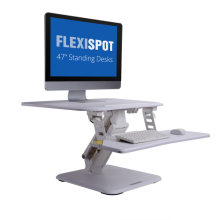 "FlexiSpot 27"" Standing Desk Converter, Height Adjustable Stand up Desk Riser w/ Quick Release Removable Keyboard Tray, White"