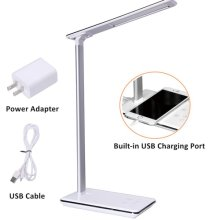 LED Desk Lamp, 5 Level Dimmable Touch Control Table Lamp, Office Light with USB Charging port, 1H/2H Auto Off Time White