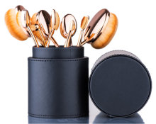 Beauty Kate 10pcs Rose-Golden Oval Toothbrush Makeup Brushes Set + PU Hard Leather Brush Holder Organizer (Black)