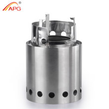 APG Folding Wood Gasifier Stainless Steel Solidified Alcohol Stove Backpacking Survival Firewood Burning Cooking System Camp Stove