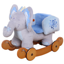 [Free Shipping] Labebe Baby Wooden Rocking Horse 2-in-1 Blue Elephant, Kids Rocking Ride-on Toys for 1-3 years old, Stuffed Animal Seat, Rattles, Dual Use as Stroller, ASTM Safety Certified