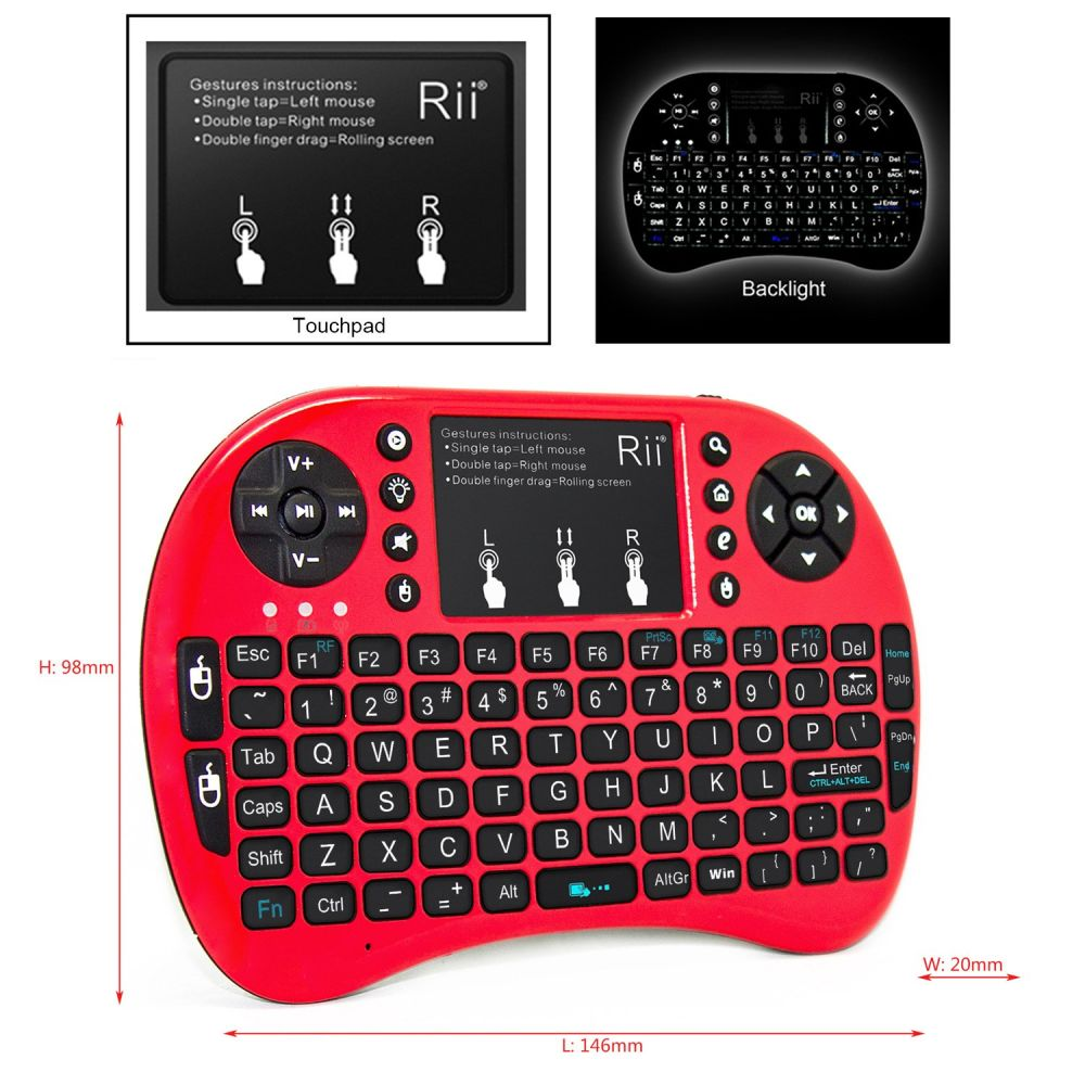 Shop For Rii Mini I8 Red Mini Keyboard With Backlight For Amazon