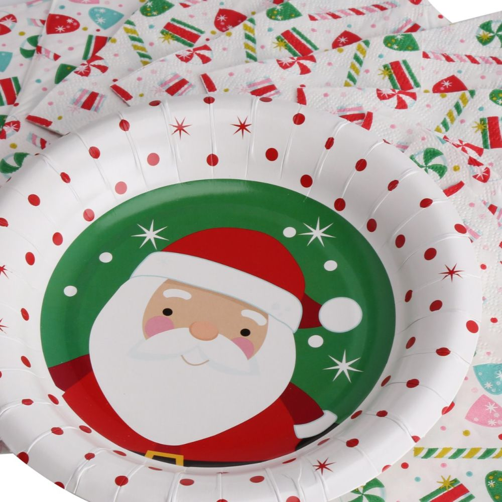 Shop for Kinbor 25 Sets 7  Winter Holiday Christmas Theme Santa Claus Party Dinnerware Supplies Disposable Paper Plates Napkins at Wholesale Price on Crov. ...  sc 1 st  Crov.com & Shop for Kinbor 25 Sets 7