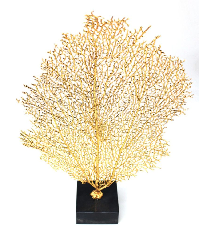 Shop for Golden Large Sea fan Coral Sculptures on Marble Base ...