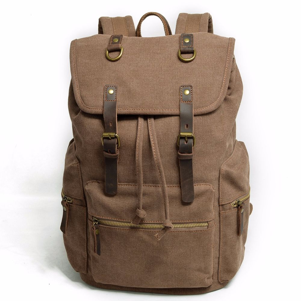 66e35ac20 Shop for REDSWAN Canvas Vintage Backpack Leather Casual Bookbag Men Rucksack  at Wholesale Price on Crov.com