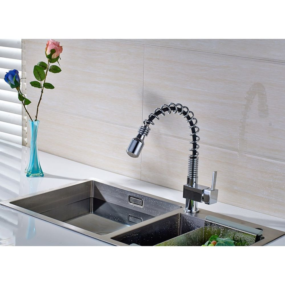 Shop for FLG Contemporary LED Pull Out Kitchen Sink Faucet Chrome ...