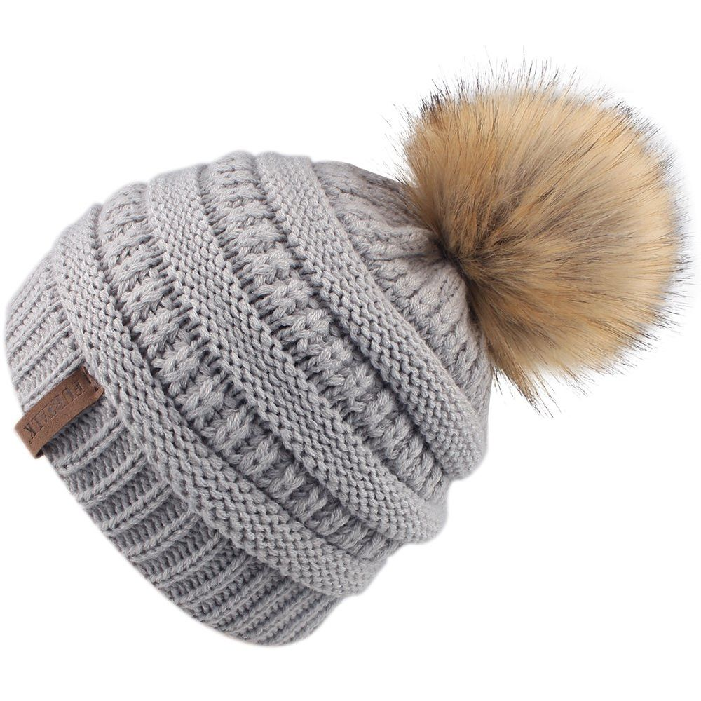 0d29cc356e1 Shop for FURTALK Kids Girls Boys Winter Knit Beanie Hats Faux Fur Pom Pom  Hat Bobble Ski Cap Toddler Baby Hats Grey A029 at Wholesale Price on  Crov.com