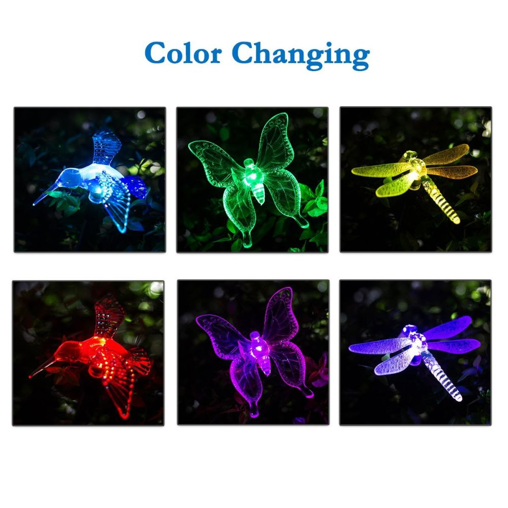 Shop For GIGALUMI Solar Garden Lights Outdoor   3 Packs Solar Stake Lights  Multi Color Changing LED Garden Lights, Premium Butterfly Decorative Lights  For ...