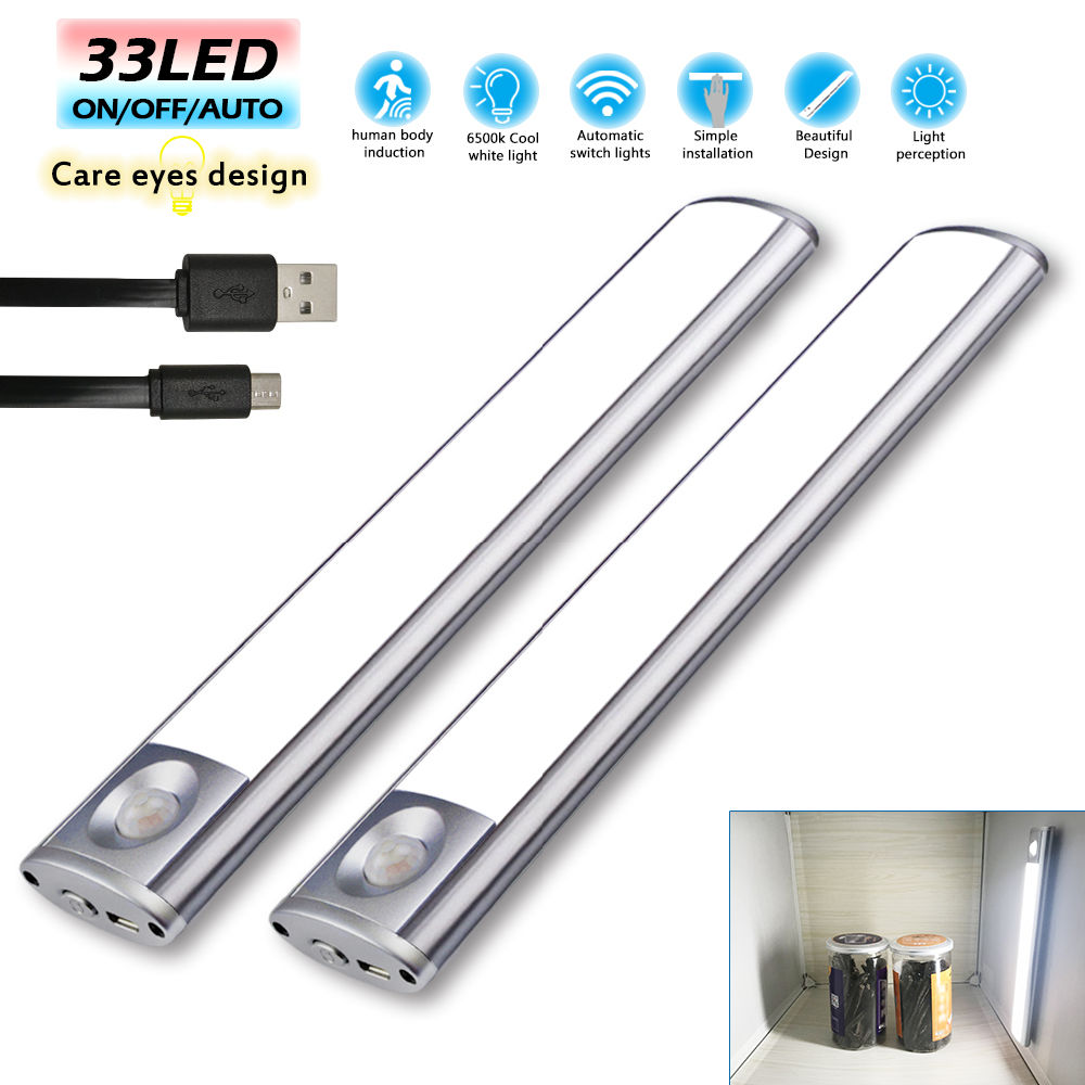 Shop For Motion Sensor Battery Pir Light Led Night Cupboard Lights Circuit Under Cabinet Lightening Wireless 33leds Auto Wardrobe Usb Rechargeablesoft