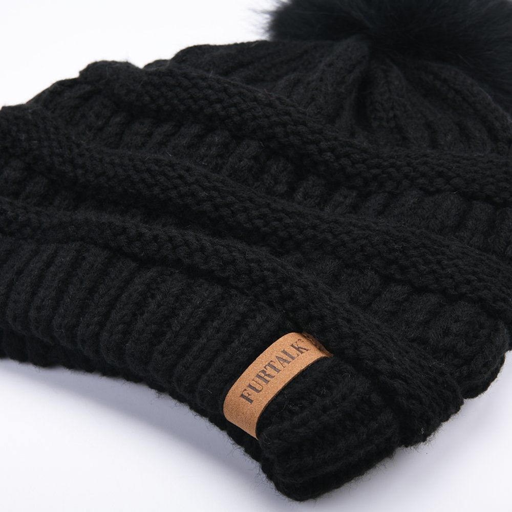 1239f737d88d8f Shop for FURTALK Womens Slouchy Winter Knit Beanie Hats Chunky Hat Faux Fur  Bobble Hat Ski Cap A003 at Wholesale Price on Crov.com