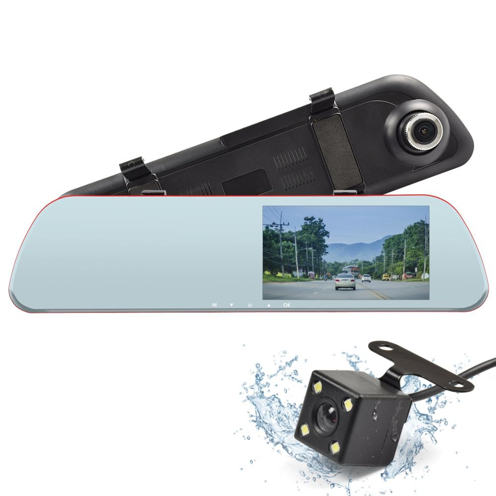 Car Mirror Dash Cam, Night Vision Car Camera DVR Recorder, Full HD 1080P Rear View Mirror Reverse Camera with 4.3'' LCD Touch Screen, 170 Degree Wide Angle ...