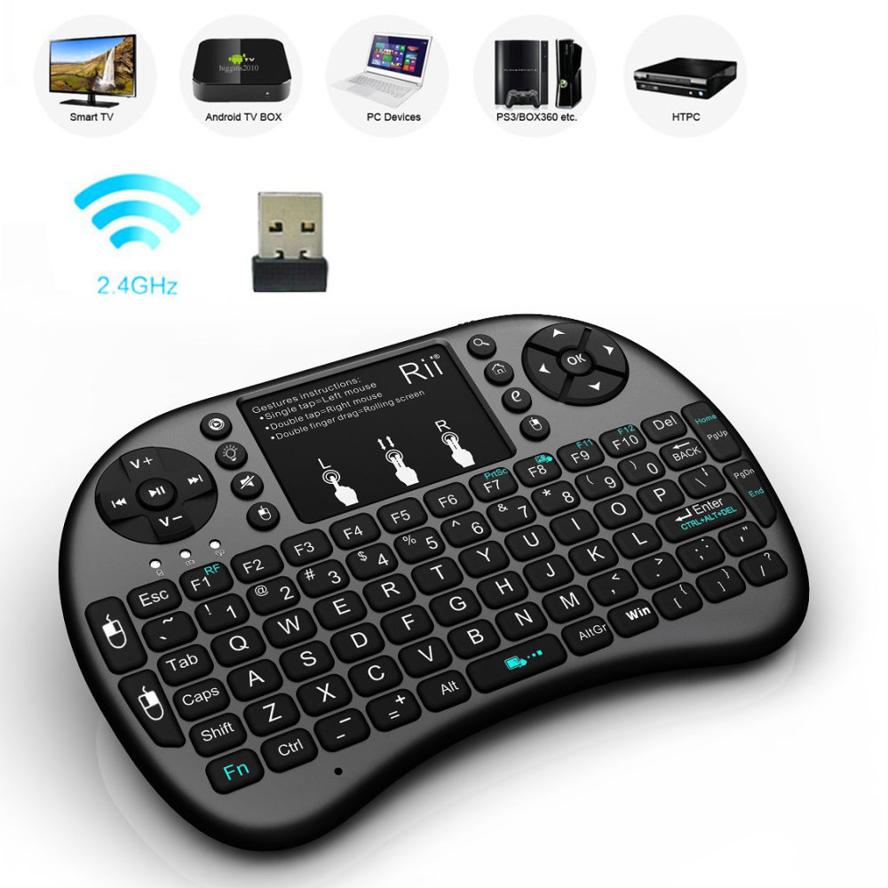 Shop for Black Rii i8+ 2.4GHz Mini Wireless Keyboard with Touchpad Mouse LED Backlit Rechargable Li-ion Battery Updated 2018, Backlit at Wholesale Price on ...