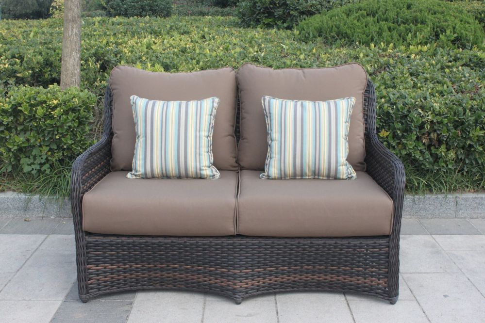 For Higreen Outdoor South Bay 6 Piece Wicker Patio Furniture Conversation Set Canvas Cocoa Brown With Sunbrella Cushions And Polywood Coffee Table No