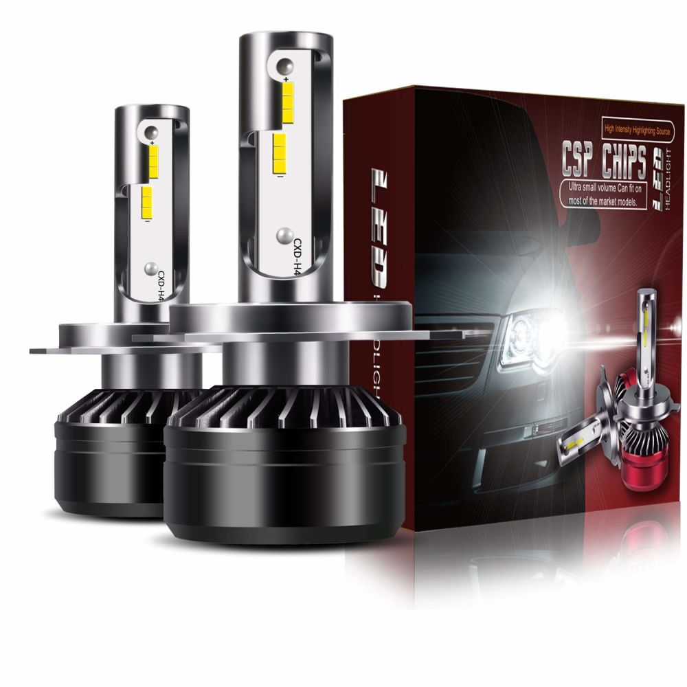 TURBOSII Extremely Bright 9008 H13 Hi//Low Beam LED Headlight Bulbs Conversion Kit 6000LM 6000K Cool White DOT Approved D6 Series CSP Chips Fog Lights Pair,Black