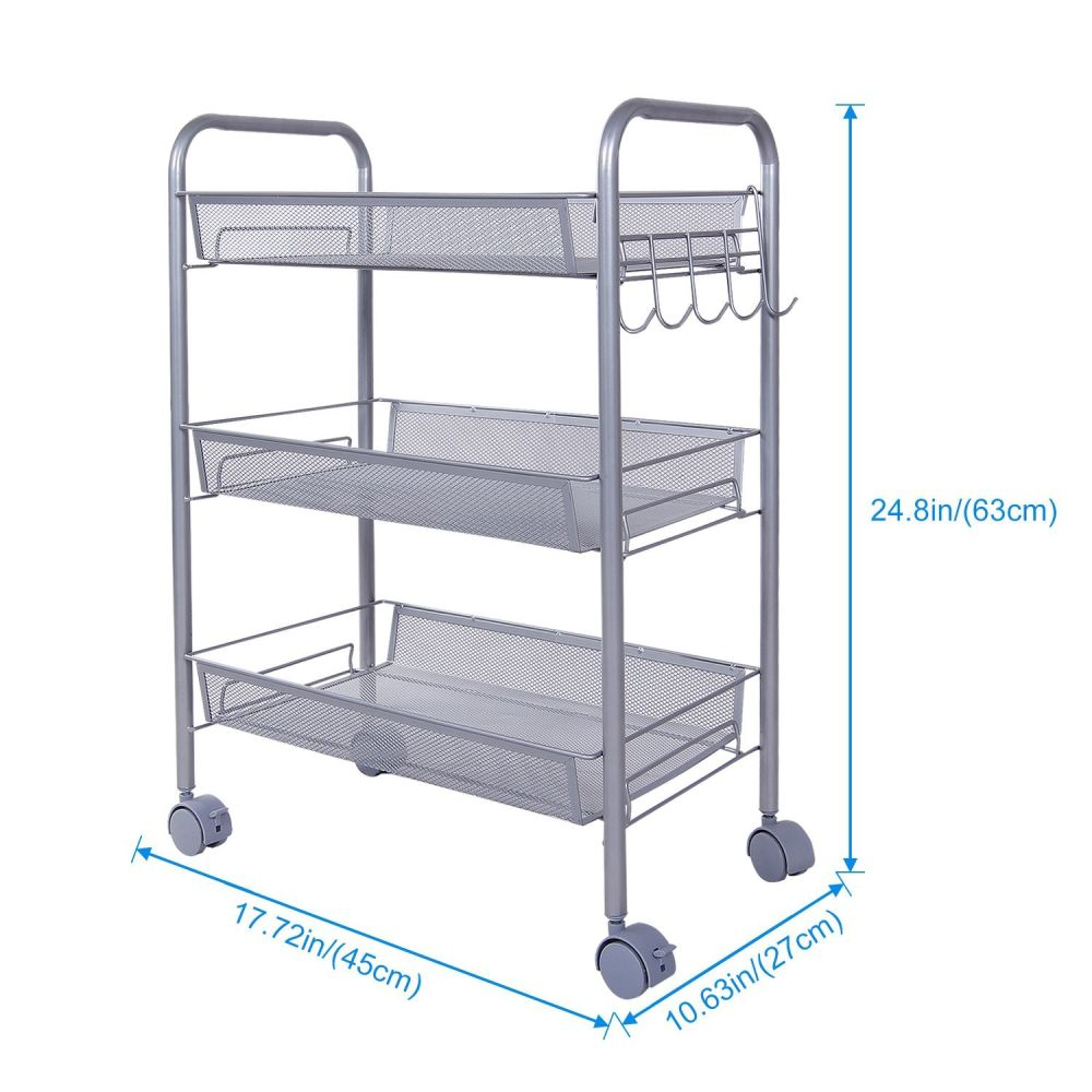 Shop For Lifewit 3 Tier Storage Cart Multifunction Rolling Cart Wire Rack  Metal Mesh Shelf Trolley With Hooks At Wholesale Price On Crov.com