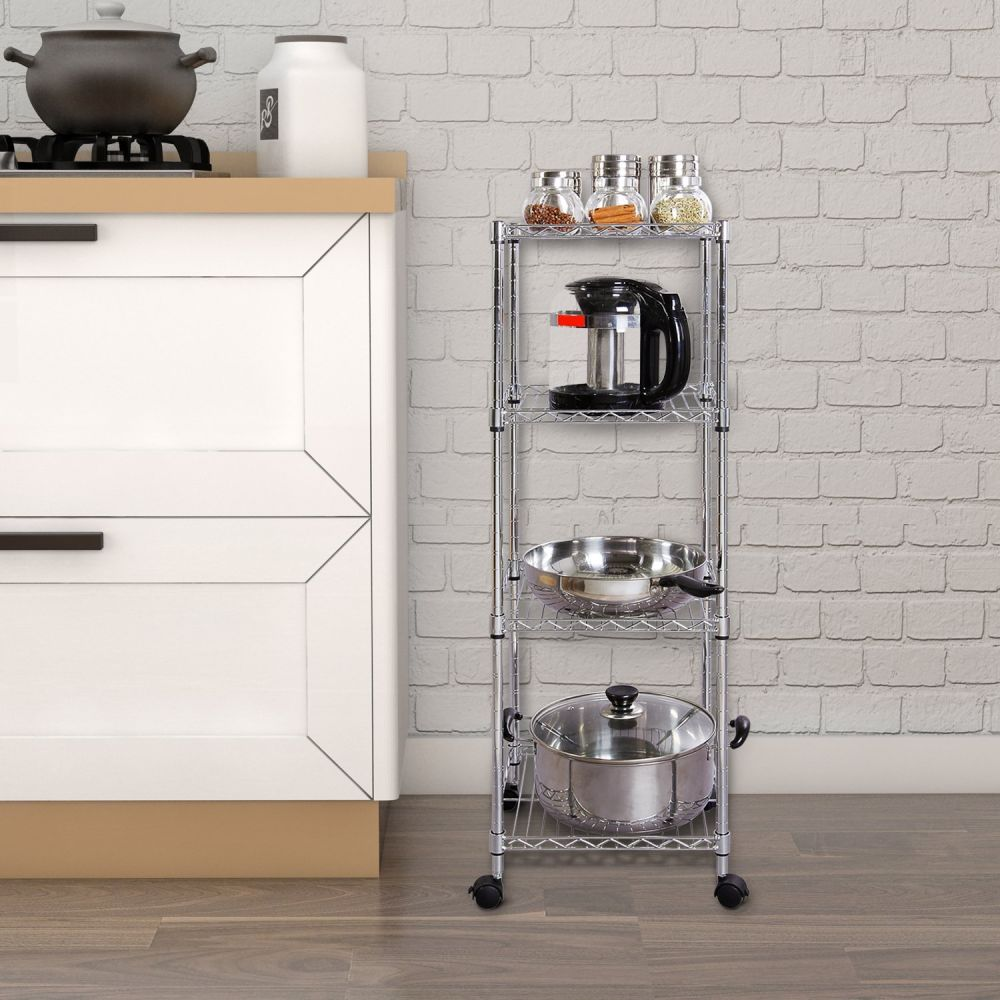 Shop for Lifewit 4 Tiers Wire Shelving Unit on Wheels, Adjustable ...