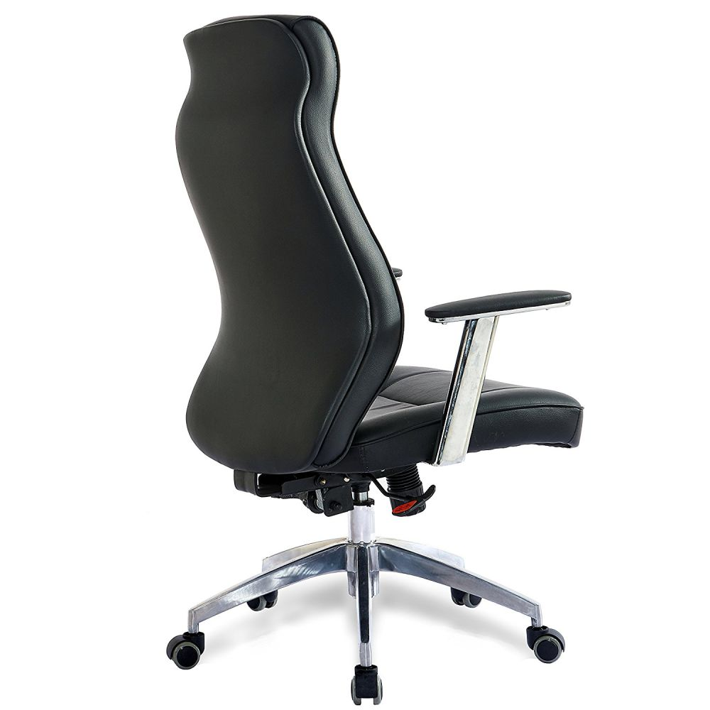 For High Back Leather Office Chair Adjule Angle Recline Locking System Executive Computer Desk Ergonomic Curve Design Lumbar Support