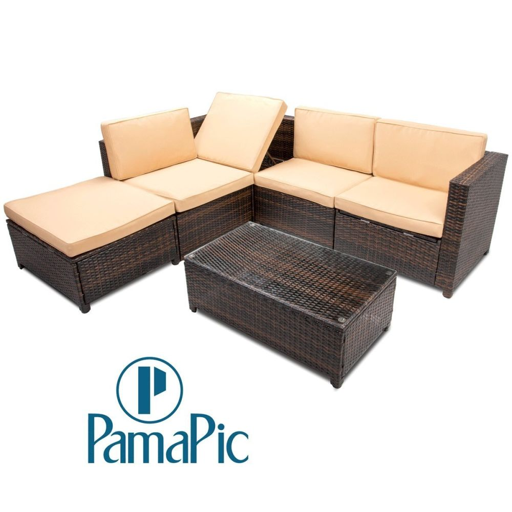 For Pamapic 6pcs Outdoor Patio Furniture Set Rattan Wicker Sofa Sectional Garden Cushioned Seat With Coffee Table Brown At Whole