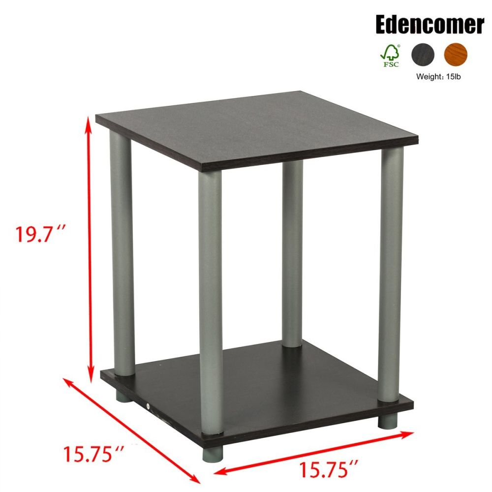 Shop for edencomer fsc certified square end table simplistic home furniture 2 sets walnut at wholesale price on crov com