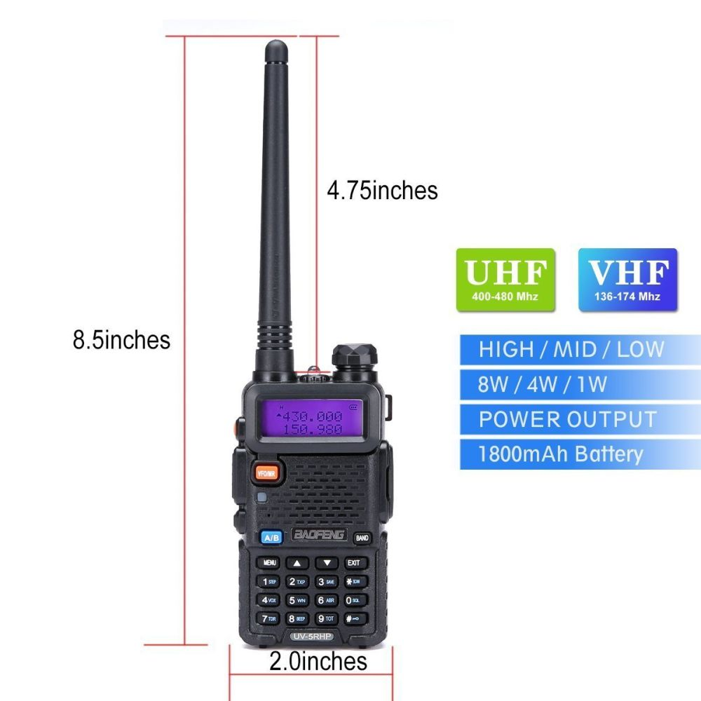 Shop For Walkie Talkies 2 Way Radio Baofeng Series Uv 5rh High Ht Verxion 5re Power 8 Watt Dual Band Two Hiking Camping Trolling Newer Version Of
