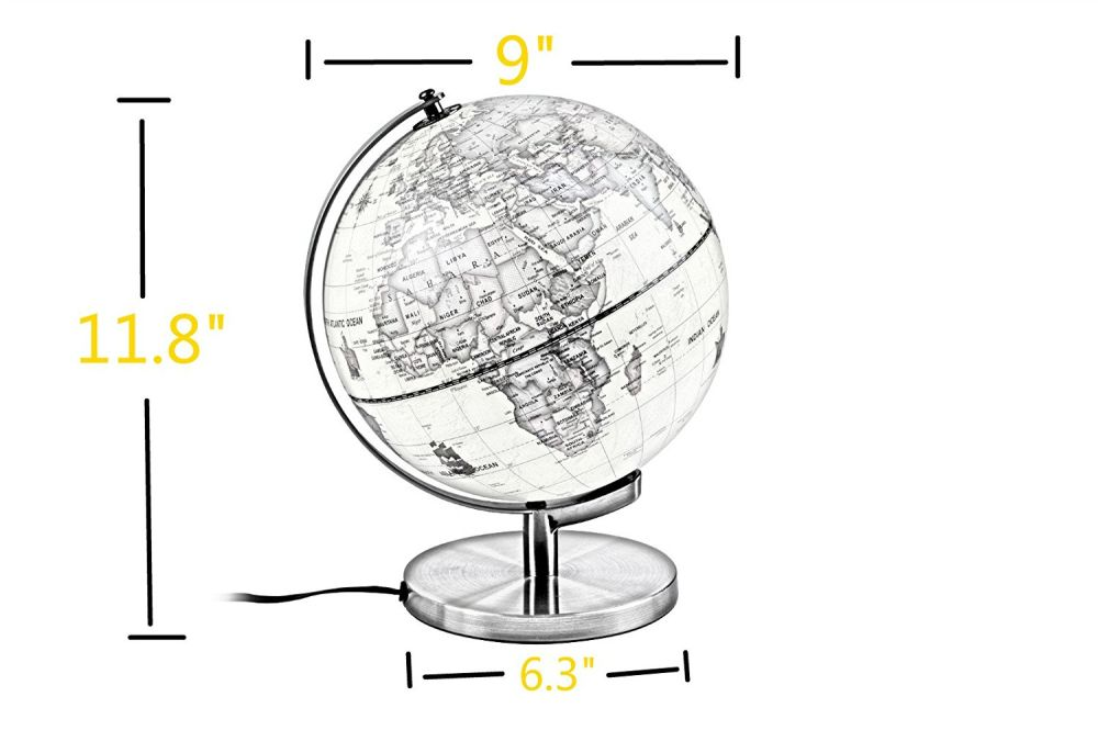 Shop For Qwork 9 Inch Classic Antique Illuminated World Globe With Compass,  2 In 1 Nightlight Tabletop Globe For Education With Bronze Frame Stand At  ...