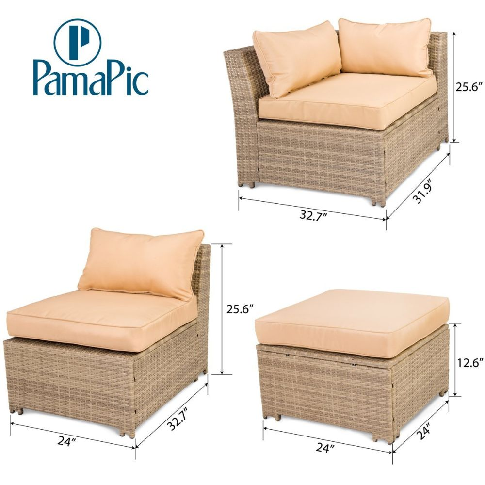 Shop for PamaPic 6 PCS Rattan Sectional Furniture Set, Garden Lawn ...