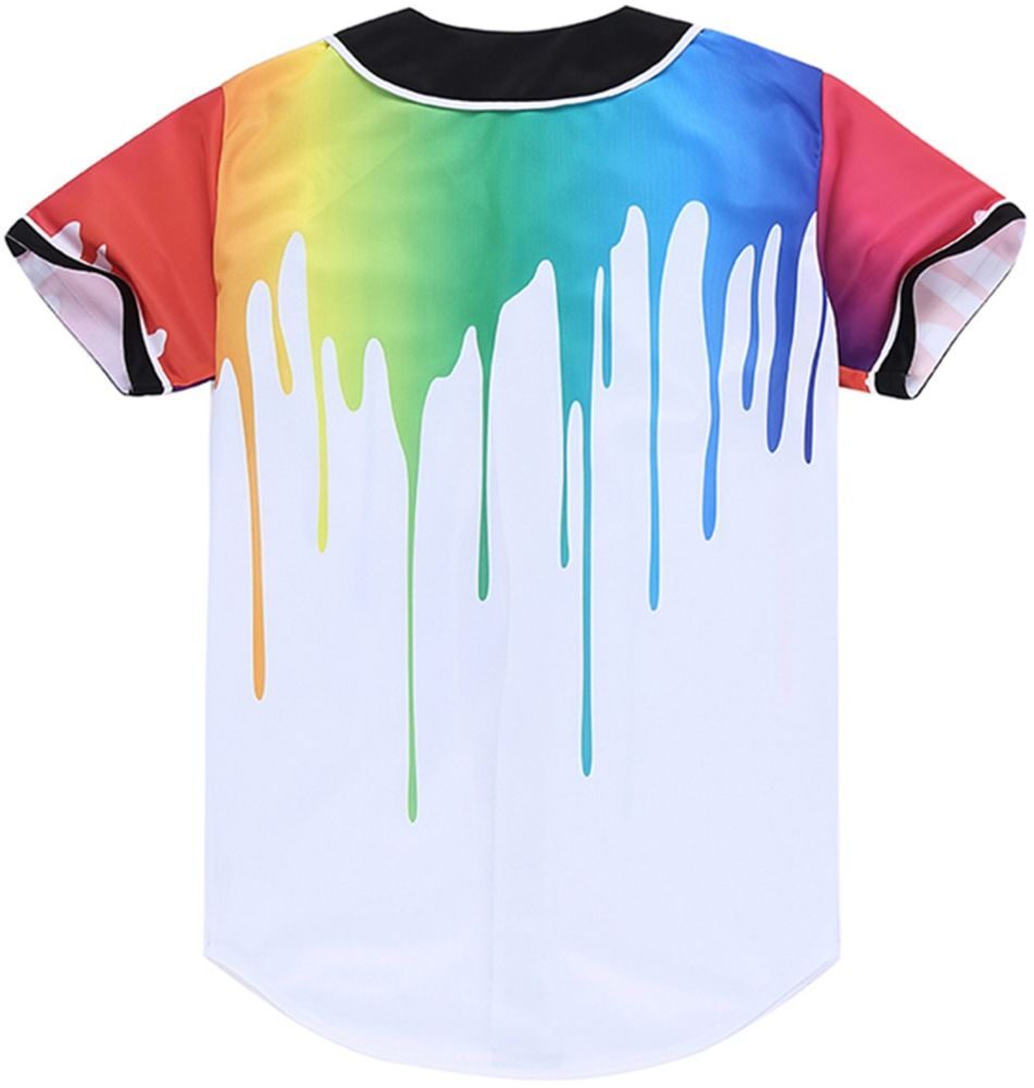 a27db4ed Shop for Pizoff Short Sleeve Arc Bottom 3D Colorful Splatter Paint Print  Baseball Jersey Shirt Y1724-38-XXL at Wholesale Price on Crov.com