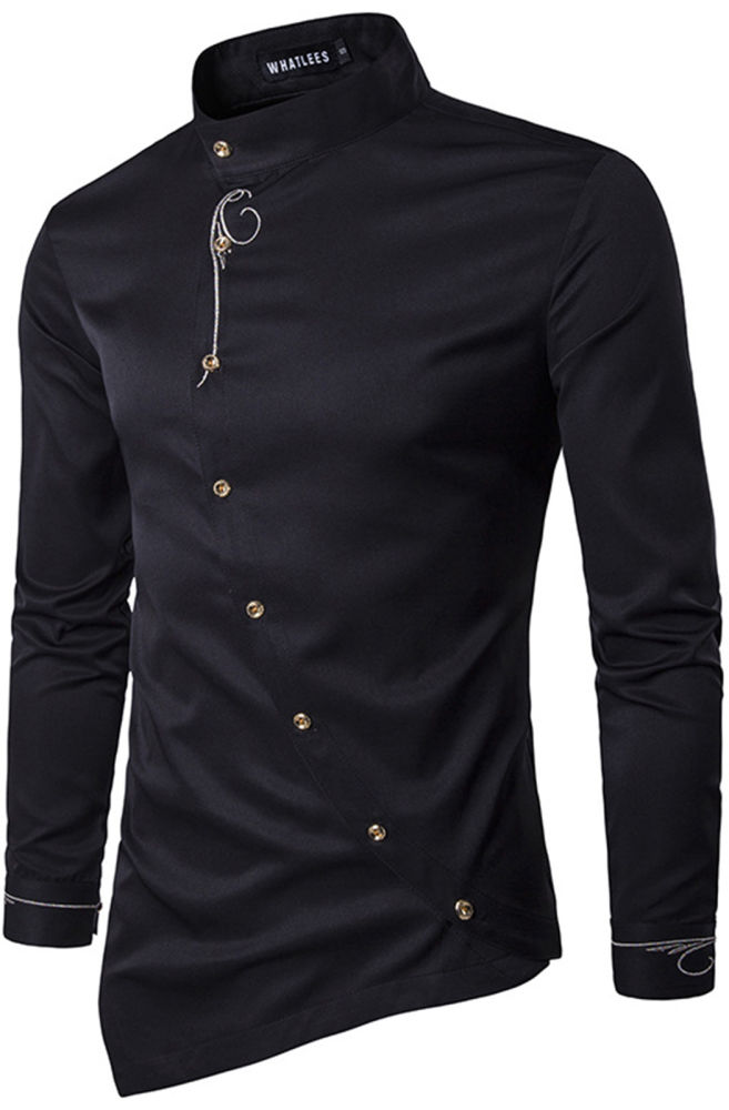 Shop for Whatlees Mens Long Sleeve Extra Long Embroidery Design ...