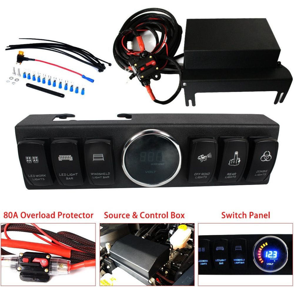 Shop For Jeep Wrangler Jk Jku 2009 2017 Overhead 6 Switch Pod Light Switches Control System 12 Vdc Max Output 100 Amp 40 Relay