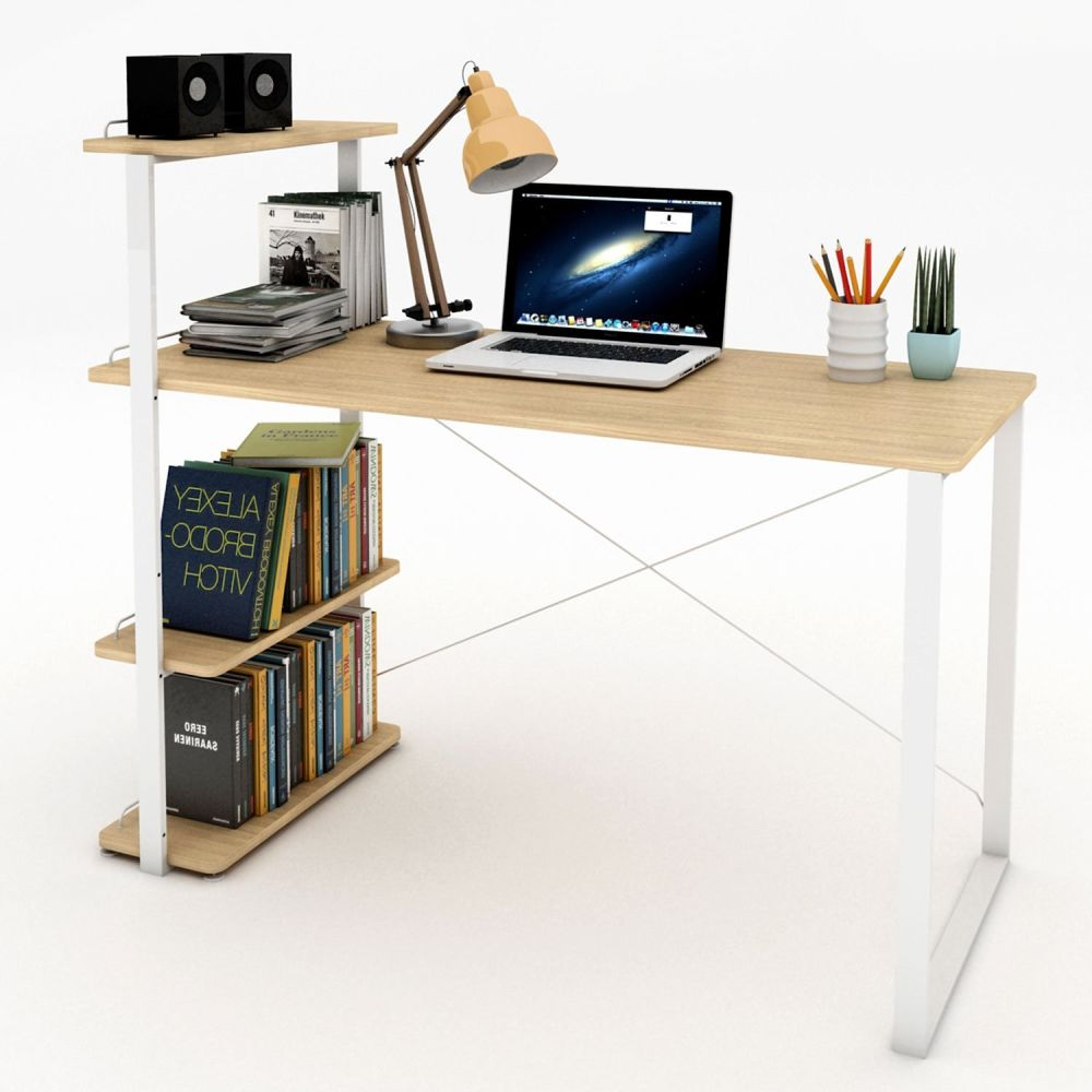 For Lifewit Computer Desk Pc Laptop With Bookshelf Large Study Writing Table Bookcase Multi Functional Home Office Workstation