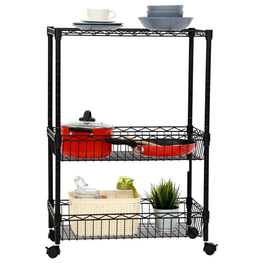 For Kinbor 3 Layer Rolling Kitchen Trolley Cart Metal Wire Shelf Adjule W Baskets At Whole On Crov Com