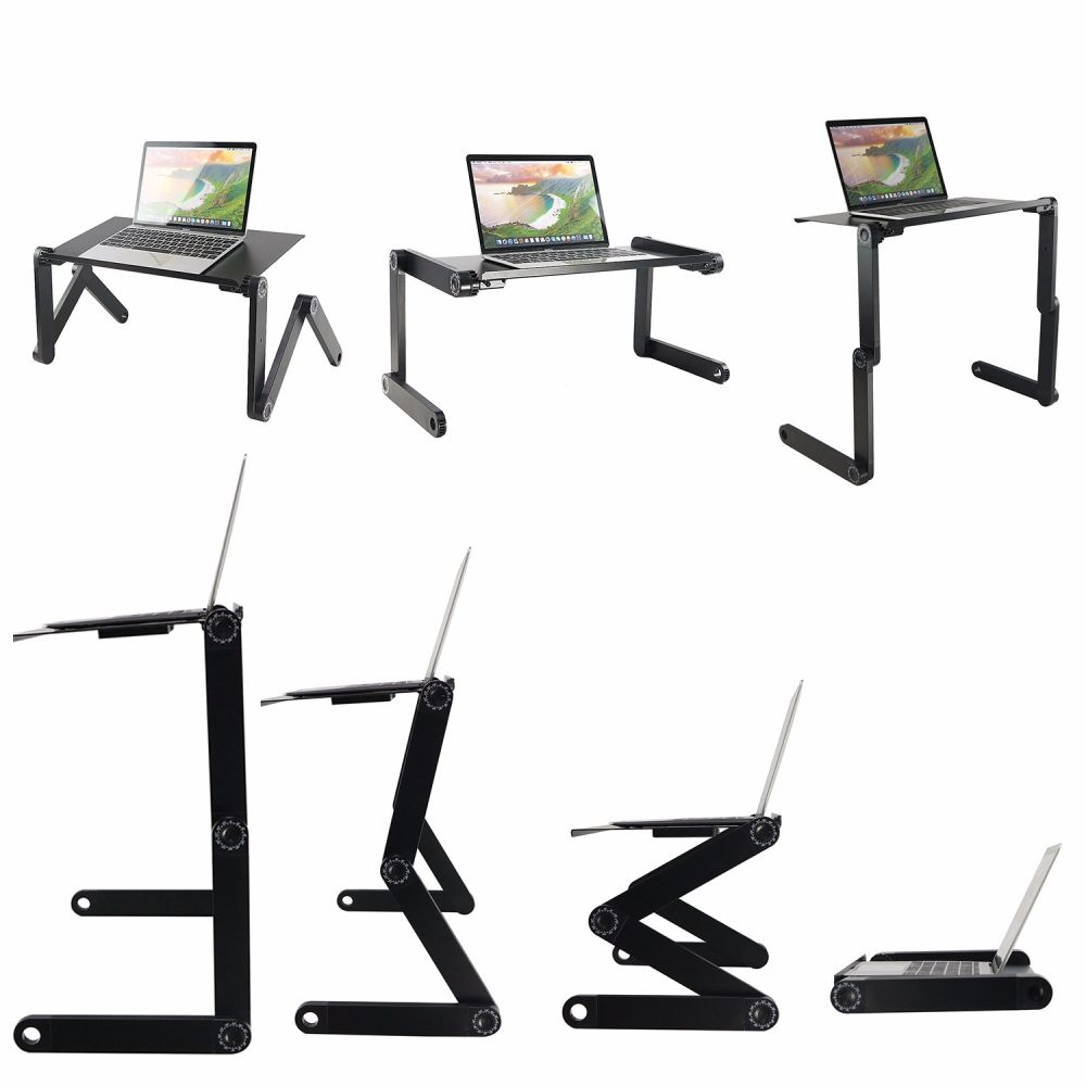 For Adjule Laptop Desk Stand Vertical Laptopo Mac Folding Table Vented Cpu Fans Portable With Mouse Pad Office Phone Ergonomic Mount Macbook