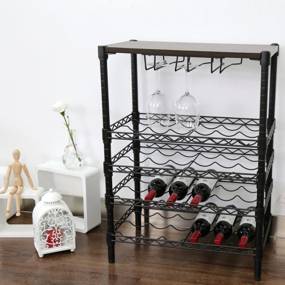 Contemporary Kitchen Wine Rack Composition - Kitchen Cabinets ...