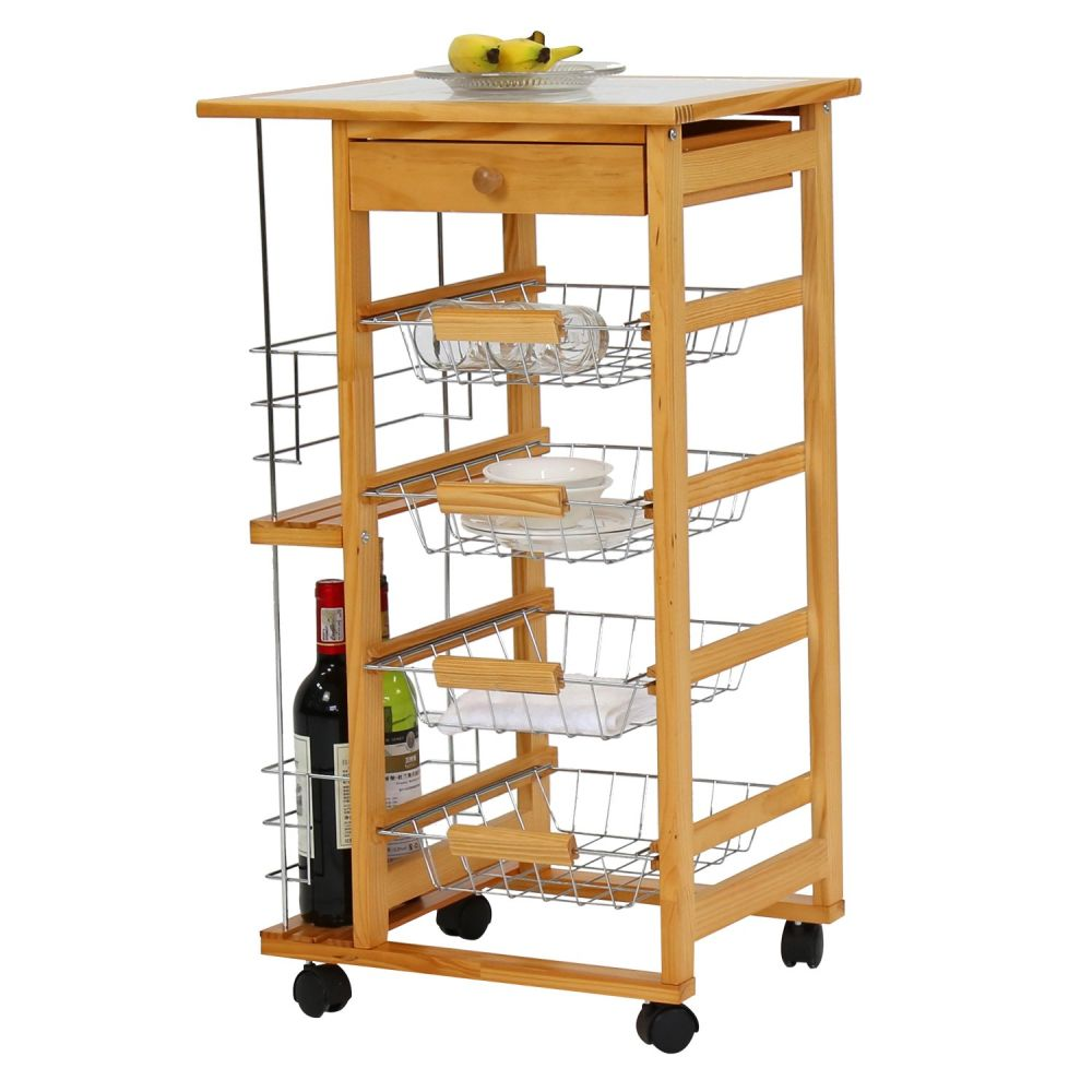 Shop for Kinbor Wooden Kitchen Island Work Station Trolley Utility ...